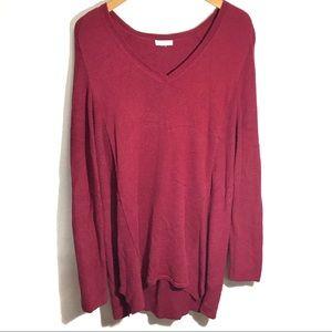 J. Jill Pullover V-Neck Sweater Maroon